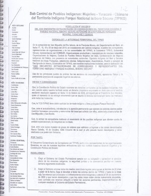 RESOLUCION 2010 DEFENSA DE LA INTEGRIDAD TERRITORIAL DEL TIPNIS 1